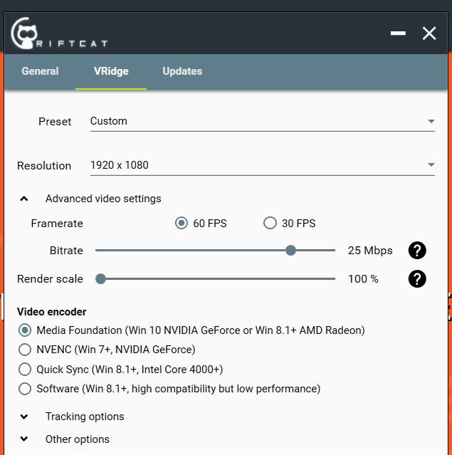Настройки RiftCat на моем компьютере